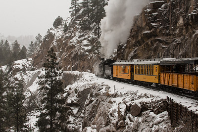 The train track was laid along the sides of Cascade Canyon, above the Animas River.  3rd in Travel Prints, N4C March 2014