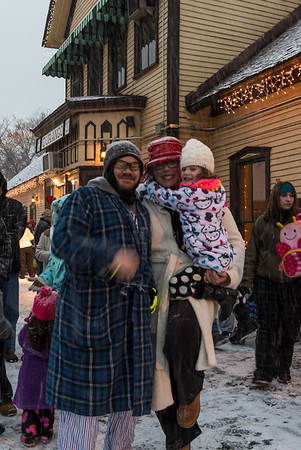 Hundreds of kids (and their parents), dressed in pajamas, waited for the Polar Express.